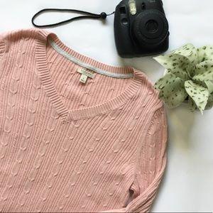 ✨NEW✨Sonoma Pink V-neck Knit Sweater